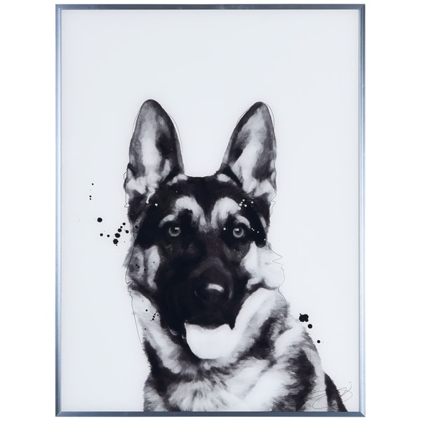 """""""German Shepherd"""" Black and White Pet Dog Wall Art Reverse Printed Glass Encased with a Gunmetal Anodized Frame"""