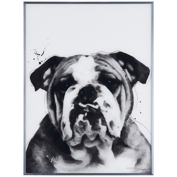 """""""Bulldog"""" Black and White Pet Dog Wall Art Reverse Printed Glass Encased with a Gunmetal Anodized Frame"""
