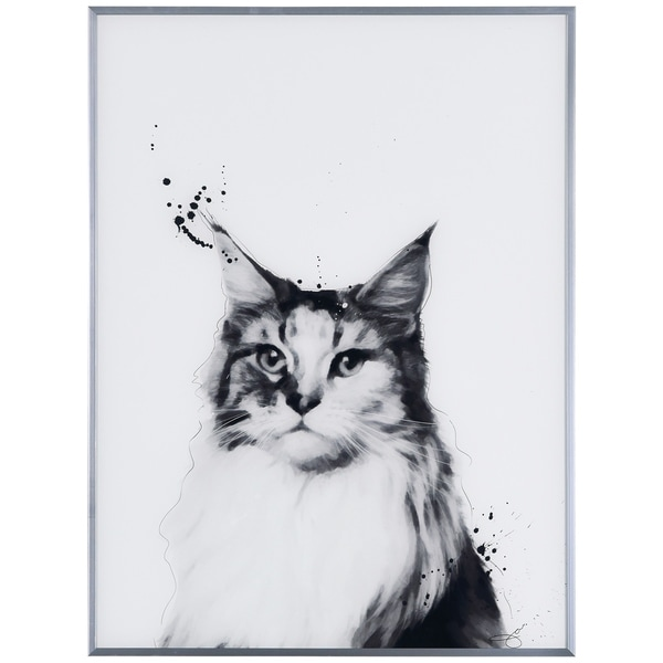 """""""Siberian Cat"""" Black and White Pet Cat Wall Art Reverse Printed Glass Encased with a Gunmetal Anodized Frame"""