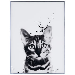 """""""Bengal Cat"""" Black and White Pet Cat Wall Art Reverse Printed Glass Encased with a Gunmetal Anodized Frame"""