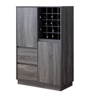 Rectangular Wooden Wine Cabinet with Spacious Storage and Finger Groove Handles, Gray