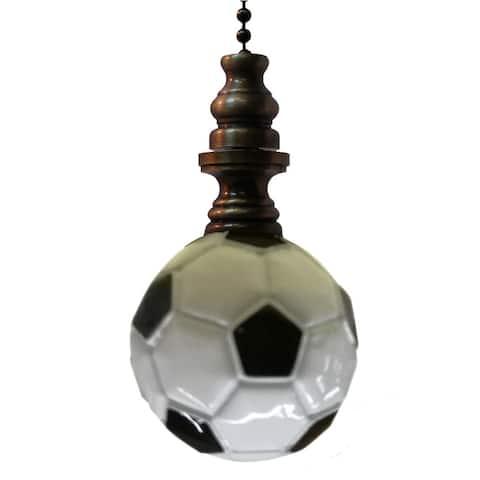 "Alloy Soccer Ball Ceiling Fan Pull Antiqued Brass Base 1.75""h"