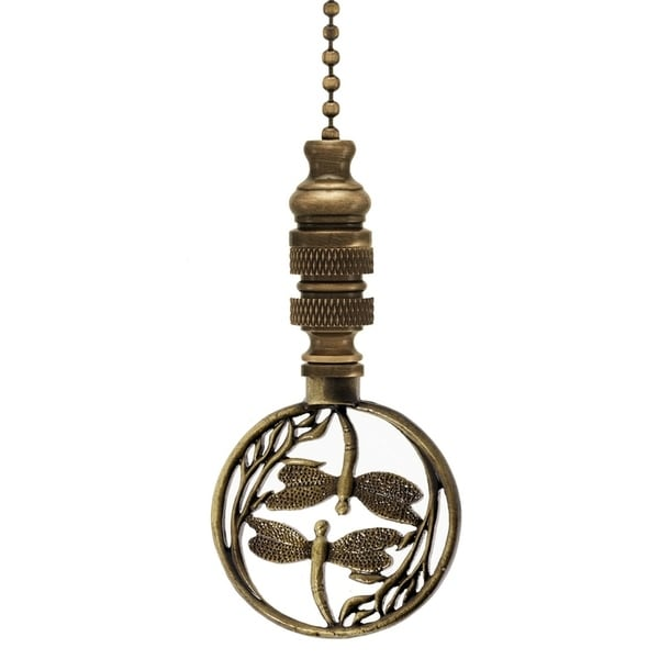 """Double Dragonfly Ceiling Fan Pull Antique Brass 2.8""""h. Opens flyout."""