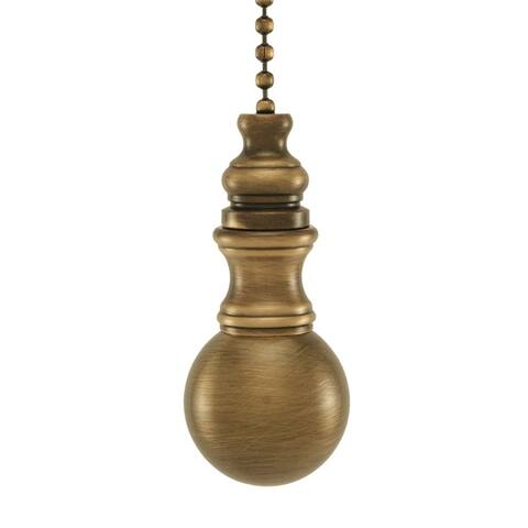 """Sphere Round Ceiling Fan Pull Antique Brass 1.2""""h"""