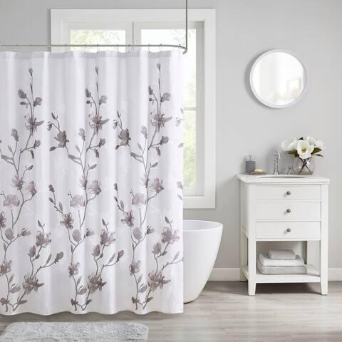 Madison Park Sylvan Floral Printed Burnout Shower Curtain 2-Color Option