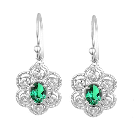 Sterling Silver with Green Emerald and Natural White Topaz Dangle Earring