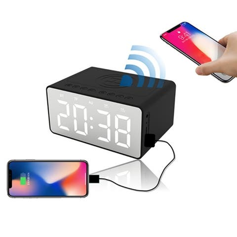 Indoor LED HD Mirror Portable Wireless Charger Speaker Sound Box Alarm Clock Power Bank 3 in 1