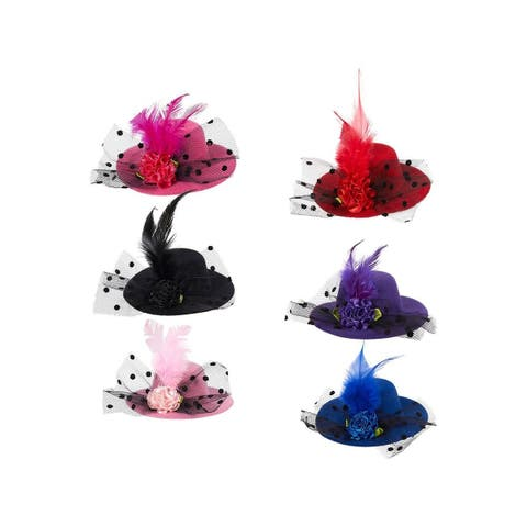 6pcs Women Girl Hair Clips Party Fascinator Mini Top Hat Flower Feather Hairpin