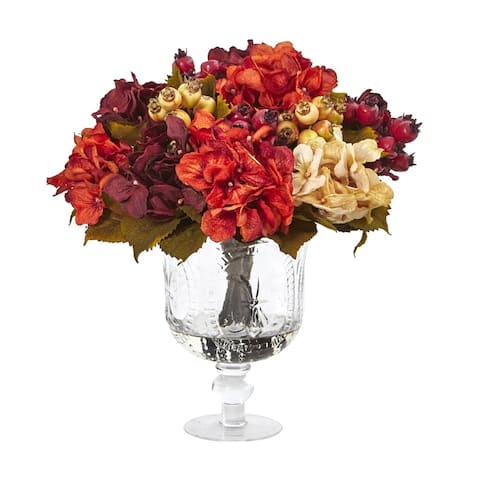 Autumn Hydrangea Berry Artificial Arrangement in Glass Urn