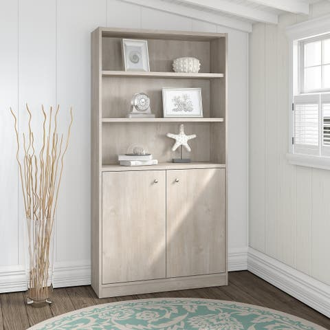 Bush Furniture Universal 5 Shelf Bookcase with Doors in Washed Gray