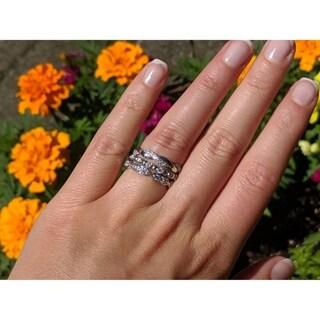 TwoBirch 10k White Gold 3 4ct Diamond 3 Piece Anniversary Stackable Ring Set