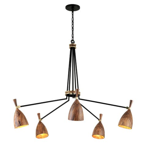 Utopia Garden by Martyn Lawrence Bullard 5-Arm Satin Black with Polished Brass ED Chandelier - Acacia Wood Shade
