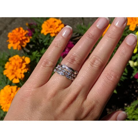 10k White Gold 3/4ct Moissanite 3-piece Anniversary Stackable Ring Set