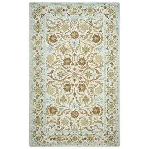 Rizzy Home Ashlyn Border Traditional Blue/ivory Area Rug - Size (9'x12') - 9' x 12' - 9' x 12'