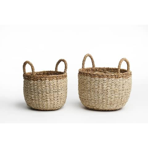 "Handmade Dakoro Ivory Storage Baskets, Set of 2 (Bangladesh) - 10"" x 11"""