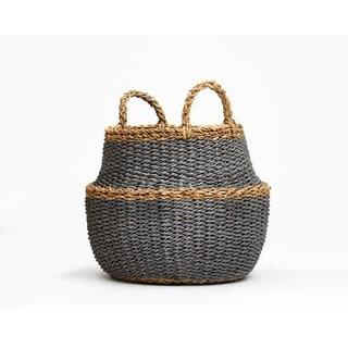 Handmade Fez Dark Round Belly Storage Basket (Bangladesh)