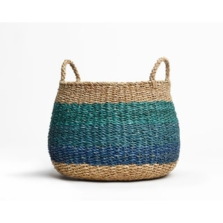 """Handmade Harlem Blue Storage Basket (Bangladesh) - 16"""" x 18"""""""