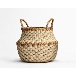 Handmade Fez Ivory Round Belly Storage Basket (Bangladesh)