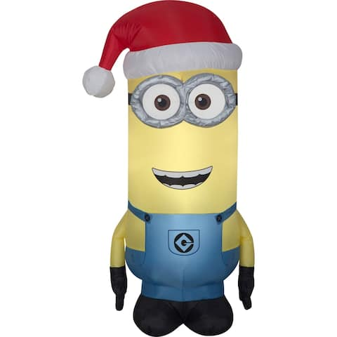 Airblown Inflatables 2 ft. W x 4 ft. H Minion Kevin with Santa Hat