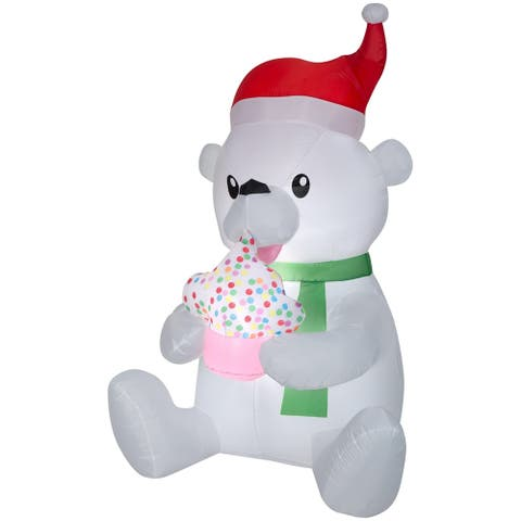Airblown Inflatables 3 ft. W x 6 ft. H Animated Polar Bear, Cupcake