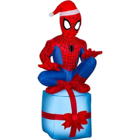 Airblown Inflatables 2 ft. W x 1 ft. D x 4 ft. H Spider-Man On Present