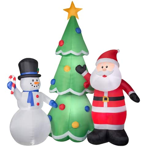Airblown Inflatables 12 ft. W x 13 ft. H Santa and Snowman Tree Scene