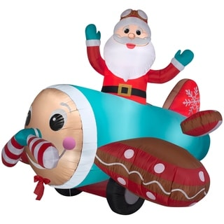Link to Airblown Inflatables 7 ft. W x 5 ft. H Animated Gingerbread Airplane Similar Items in Christmas Decorations