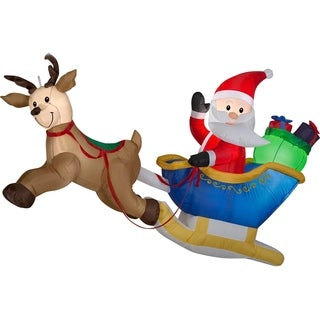 Link to Airblown Inflatables 6 ft. W x 4 ft. H Flying Santa, Reindeer Similar Items in Christmas Decorations