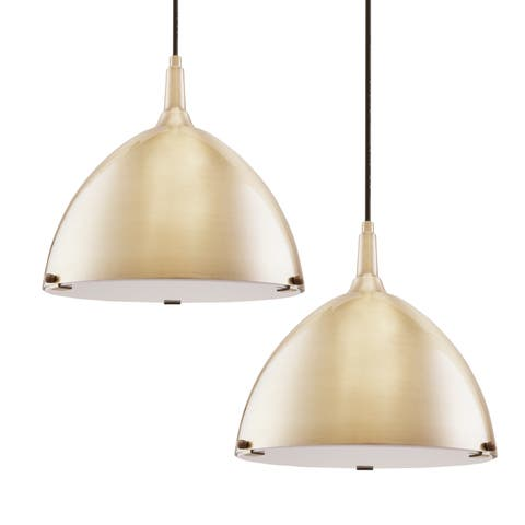 Carson Carrington Carlow Midcentruy Modern Antique Brass Pendant Lamp (Set of 2)