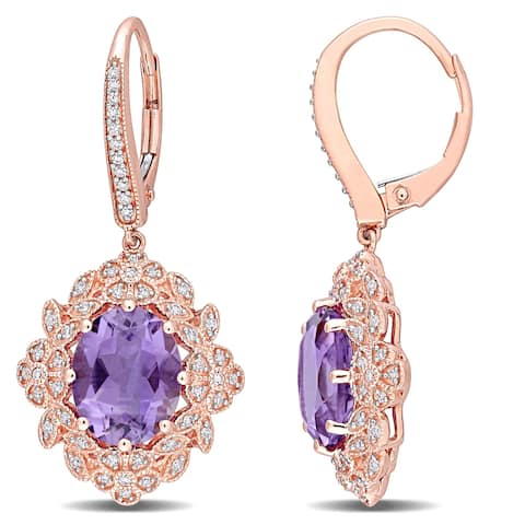 Miadora 14k Rose Gold Oval-Cut Amethyst and 3/8ct TDW Diamond Vintage Halo Earrings