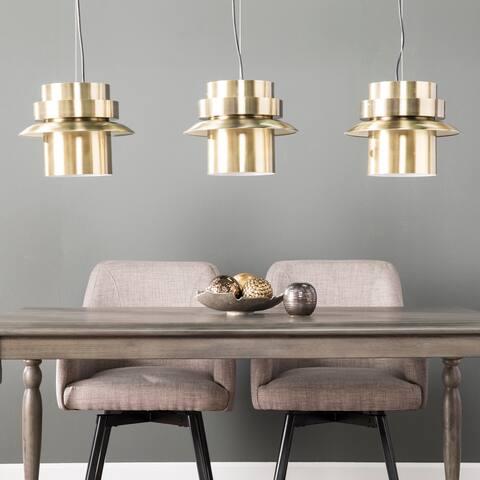 Carson Carrington Allerford Midcentury Modern Brass Metal Pendant Lamps (Set of 3)