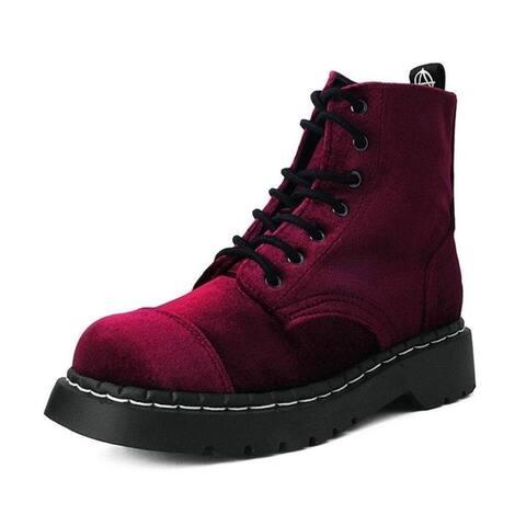 Burgundy Velvet Anarchic Boots