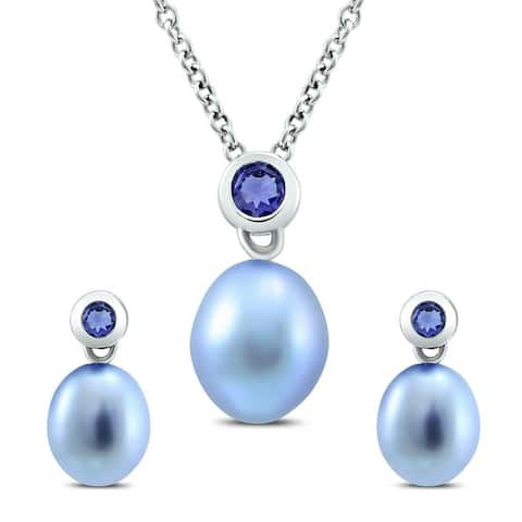 7.5 - 8.5mm Light Blue Freshwater Cultured Pearl and Genuine Iolite Pendant & Earring Set in .925 Sterling Silver