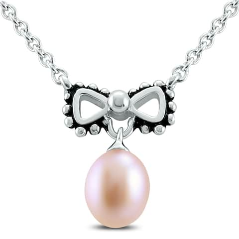 """Young Girls 14"""" Bowtie Freshwater Cultured Pearl Necklace"""