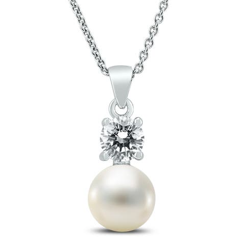 7-8mm Freshwater Cultured Pearl and Swarovski CZ Simple Pendant in .925 Sterling Silver
