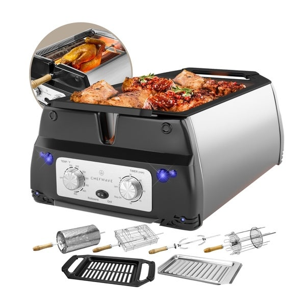 ChefWave Sosaku Smokeless Infrared Rotisserie Indoor Tabletop Grill w/ Accessories. Opens flyout.