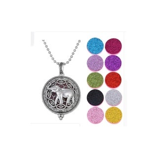 Aromatherapy Elephant Locket Necklace 10 Glitter Diffuser Pads