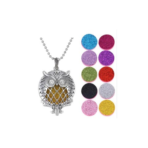 Aromatherapy Owl Locket Necklace 10 Glitter Diffuser Pads