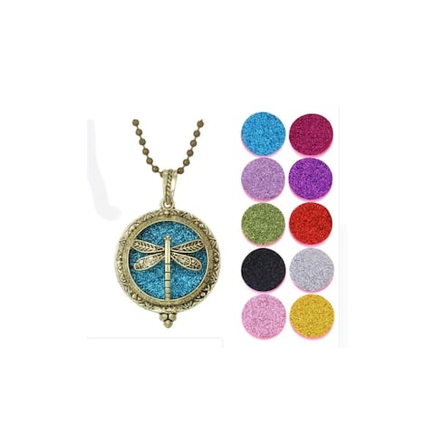 Aromatherapy Dragonfly Locket Necklace 10 Glitter Diffuser Pads