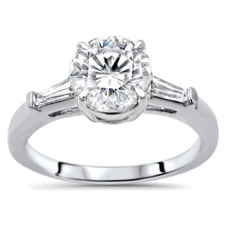 1 22ct TGW Round Moissanite And Tapered Baguette Diamond Engagement Ring 14k White Gold