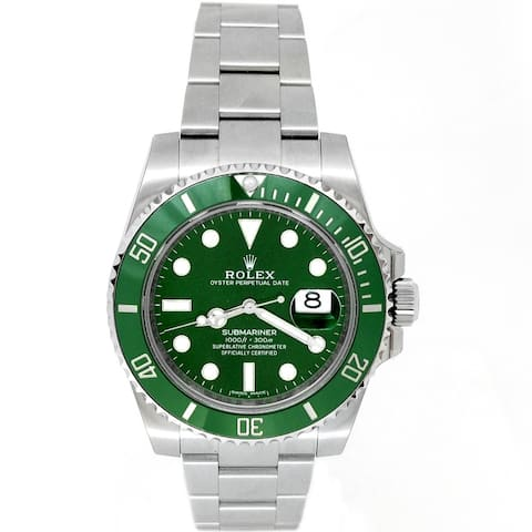 Pre-owned 40mm Rolex Stainless Steel Submariner Green