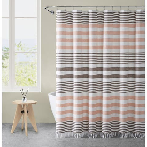 VCNY Home Margot Stripe Tassel Shower Curtain