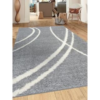 "Soft Cozy Contemporary Stripe Indoor Shag Area Rug - 6'6"" x 9'"