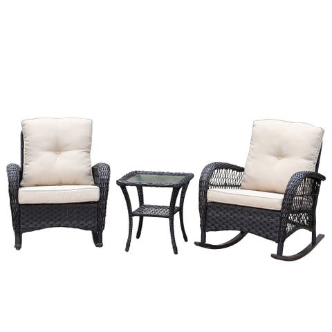Havenside Home Scammon Bay 3-piece Wicker Rocker Conversation Set