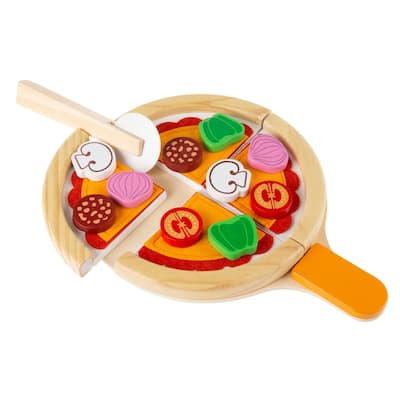 Pretend Play Pizza Set-Wooden Toy Food by Hey! Play! - Yellow - 8.75 x 11.75 x 1