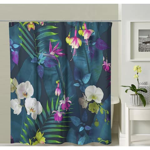 Oyo Concept Green Floral Shower Curtain