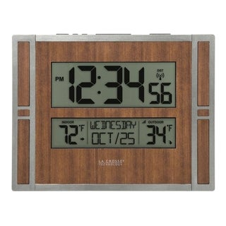 La Crosse Technology BBB86088 Atomic Digital Wall Clock with Indoor & Outdoor Temperature