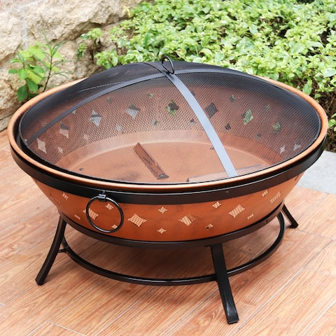 Maypex Round Copper Fire Pit with Handle and Spark Screen 35 inch