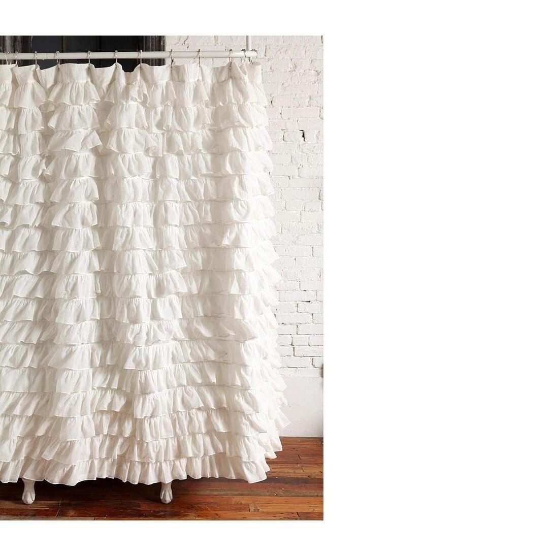 Waterfall Ruffled Fabric Shower Curtain White