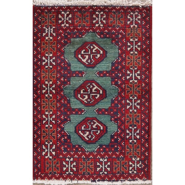 "Balouch Oriental Hand Knotted Persian Wool Area Rug - 2'8"" x 1'9"""